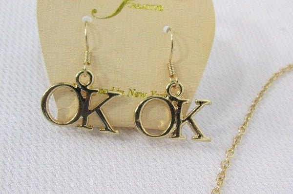 "Gold Long Chains OK Oklahoma Pendant Necklace  + Earrings Set New Women 18"" Fashion - alwaystyle4you - 8"