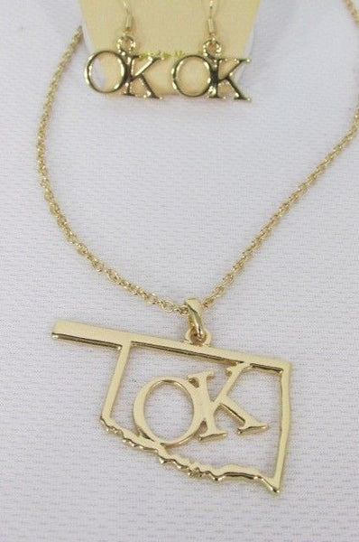 "Gold Long Chains OK Oklahoma Pendant Necklace  + Earrings Set New Women 18"" Fashion - alwaystyle4you - 10"
