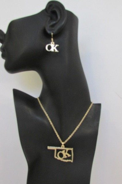 "Gold Long Chains OK Oklahoma Pendant 18"" Necklace Earrings Set New Women Fashion Accessories"