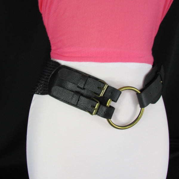 Cream Off White  / Black Faux Leather Braided Hip / Waist Belt Round Buckle New Women Moroccan Fashion Accessories Medium - alwaystyle4you - 21