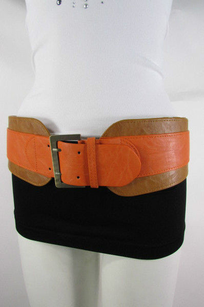 Beige Orange Black Orange White Yellow Blue Pink Faux Leather Elastic Wide 2 Colors Belt Big Buckle Western Style New Women Fashion Accessories S M - alwaystyle4you - 9