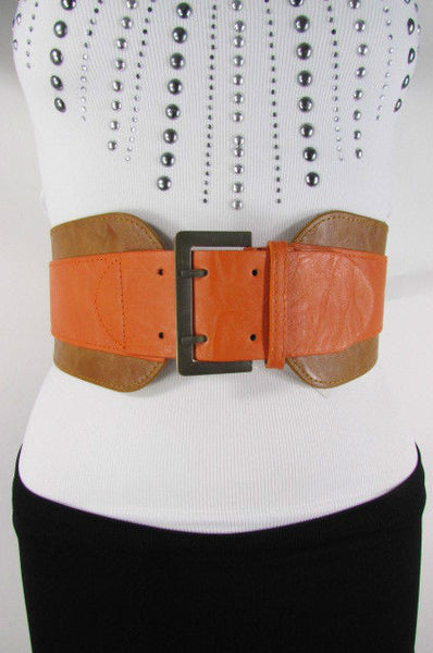 Beige Orange Black Orange White Yellow Blue Pink Faux Leather Elastic Wide 2 Colors Belt Big Buckle Western Style New Women Fashion Accessories S M - alwaystyle4you - 37
