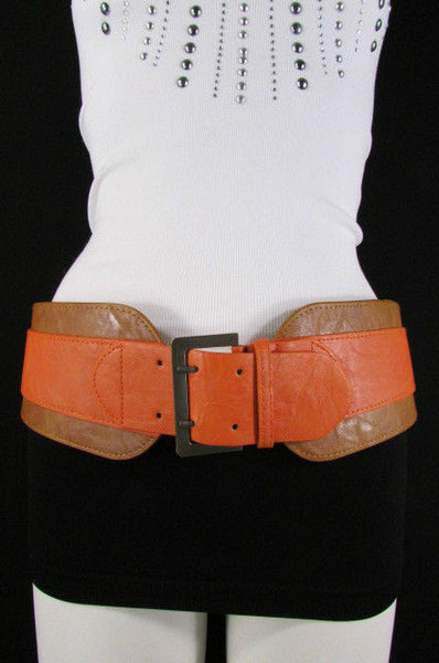 Beige Orange Black Orange White Yellow Blue Pink Faux Leather Elastic Wide 2 Colors Belt Big Buckle Western Style New Women Fashion Accessories S M - alwaystyle4you - 5