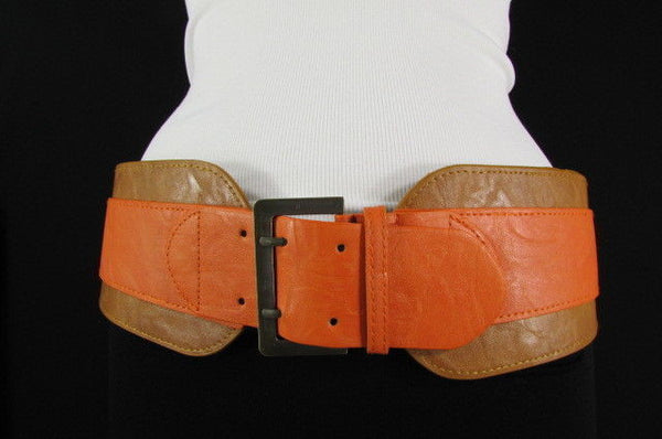 Beige Orange Black Orange White Yellow Blue Pink Faux Leather Elastic Wide 2 Colors Belt Big Buckle Western Style New Women Fashion Accessories S M - alwaystyle4you - 21