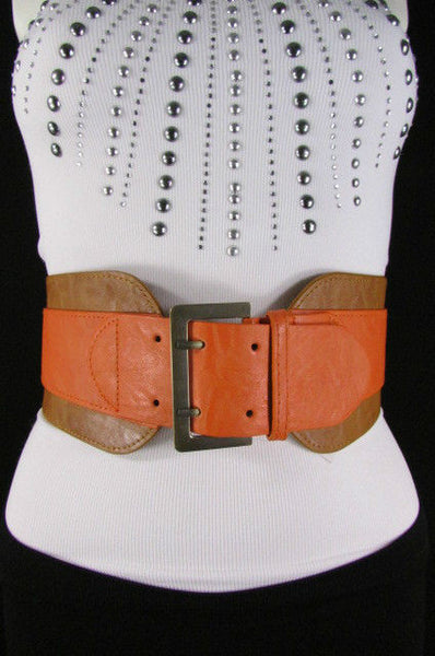 Beige Orange Black Orange White Yellow Blue Pink Faux Leather Elastic Wide 2 Colors Belt Big Buckle Western Style New Women Fashion Accessories S M - alwaystyle4you - 1