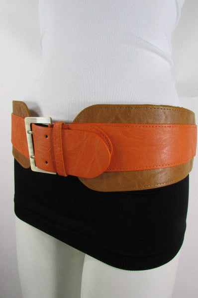Beige Orange Black Orange White Yellow Blue Pink Faux Leather Elastic Wide 2 Colors Belt Big Buckle Western Style New Women Fashion Accessories S M - alwaystyle4you - 25