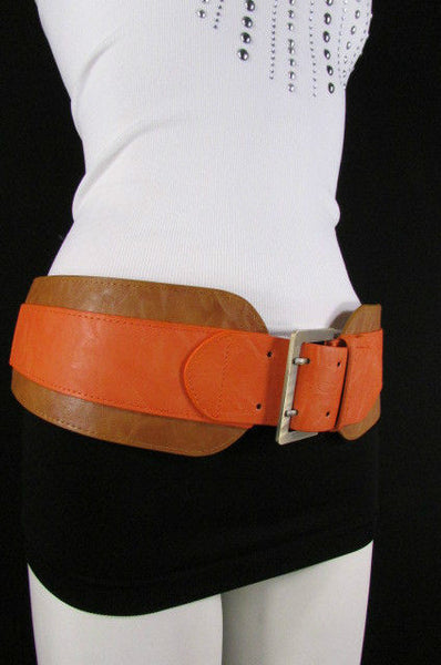 Beige Orange Black Orange White Yellow Blue Pink Faux Leather Elastic Wide 2 Colors Belt Big Buckle Western Style New Women Fashion Accessories S M - alwaystyle4you - 34