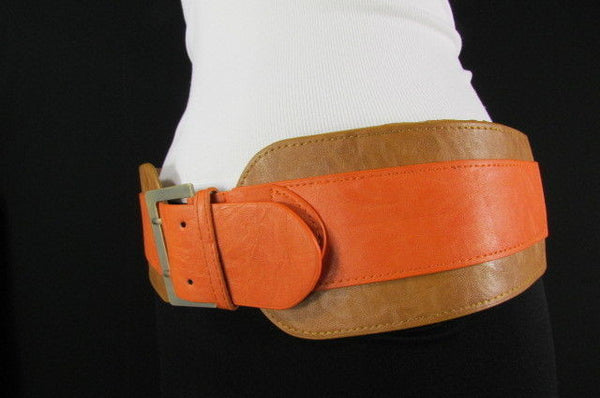 Beige Orange Black Orange White Yellow Blue Pink Faux Leather Elastic Wide 2 Colors Belt Big Buckle Western Style New Women Fashion Accessories S M - alwaystyle4you - 17