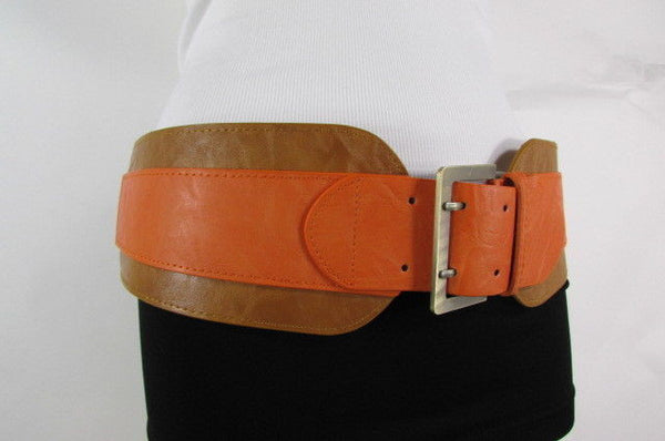 Beige Orange Black Orange White Yellow Blue Pink Faux Leather Elastic Wide 2 Colors Belt Big Buckle Western Style New Women Fashion Accessories S M - alwaystyle4you - 12