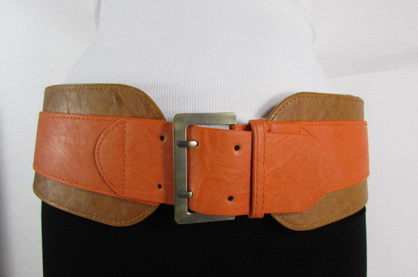 Beige Orange Black Orange White Yellow Blue Pink Faux Leather Elastic Wide 2 Colors Belt Big Buckle Western Style New Women Fashion Accessories S M - alwaystyle4you - 36