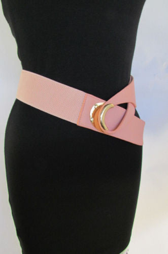Beige Pastel Pink Elastic Fabric Hip Belt Big Long Gold Hook Buckle New Women Fashion Style Accessories XS S M - alwaystyle4you - 16