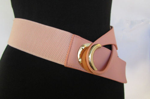 Beige Pastel Pink Elastic Fabric Hip Belt Big Long Gold Hook Buckle New Women Fashion Style Accessories XS S M - alwaystyle4you - 18