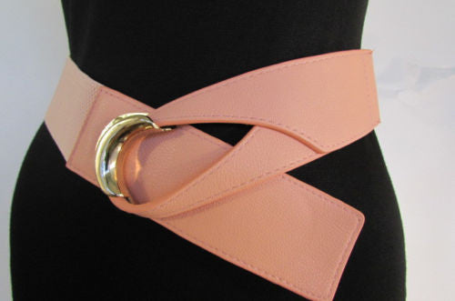 Beige Pastel Pink Elastic Fabric Hip Belt Big Long Gold Hook Buckle New Women Fashion Style Accessories XS S M - alwaystyle4you - 3
