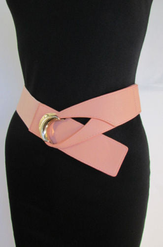 Beige Pastel Pink Elastic Fabric Hip Belt Big Long Gold Hook Buckle New Women Fashion Style Accessories XS S M - alwaystyle4you - 19