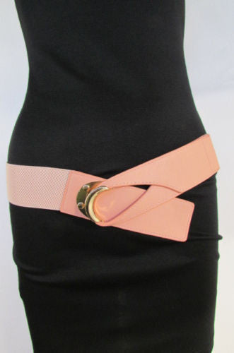 Beige Pastel Pink Elastic Fabric Hip Belt Big Long Gold Hook Buckle New Women Fashion Style Accessories XS S M - alwaystyle4you - 21