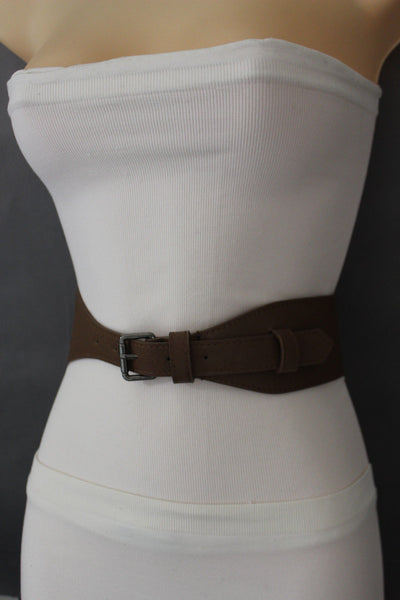 Brown / Black Elastic Stretch Back Band Hip High Waist Belt Metal Buckle New Women Fashion Accessories Size S M - alwaystyle4you - 2