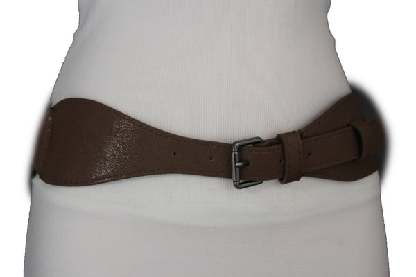 Brown / Black Elastic Stretch Back Band Hip High Waist Belt Metal Buckle New Women Fashion Accessories Size S M - alwaystyle4you - 21