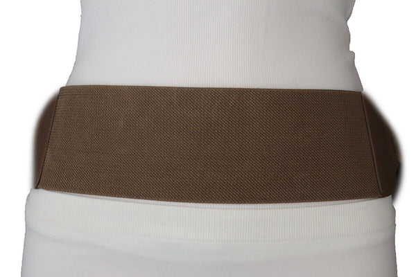 Brown / Black Elastic Stretch Back Band Hip High Waist Belt Metal Buckle New Women Fashion Accessories Size S M - alwaystyle4you - 22