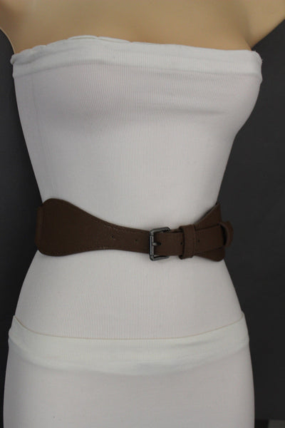 Brown / Black Elastic Stretch Back Band Hip High Waist Belt Metal Buckle New Women Fashion Accessories Size S M - alwaystyle4you - 24
