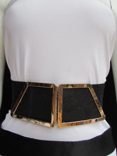 Blue / Dark Brown / Moca Brown Wide Elastic Waist Hip Stretch Back Belt Gold 80's Buckle New Women Fashion Accessories XS - M - alwaystyle4you - 37