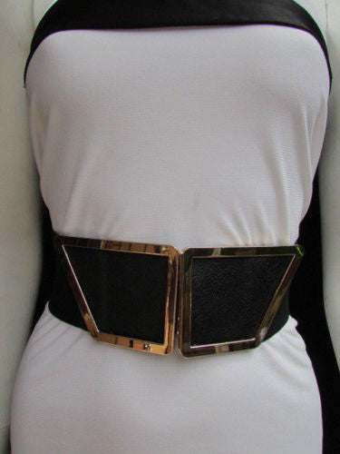Blue / Dark Brown / Moca Brown Wide Elastic Waist Hip Stretch Back Belt Gold 80's Buckle New Women Fashion Accessories XS - M - alwaystyle4you - 39