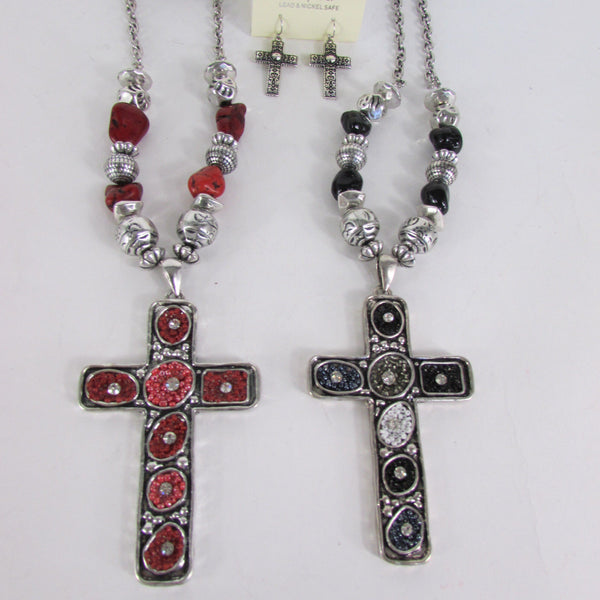 Big Large Black / Red Cross Necklace + Earrings Set New Women Fashion Frida Style - alwaystyle4you - 5