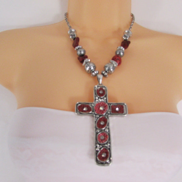 Big Large Black / Red Cross Necklace + Earrings Set New Women Fashion Frida Style - alwaystyle4you - 2