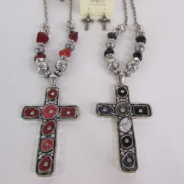 Big Large Black / Red Cross Necklace + Earrings Set New Women Fashion Frida Style - alwaystyle4you - 7