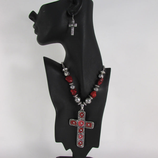 Big Large Black / Red Cross Necklace + Earrings Set New Women Fashion Frida Style - alwaystyle4you - 25