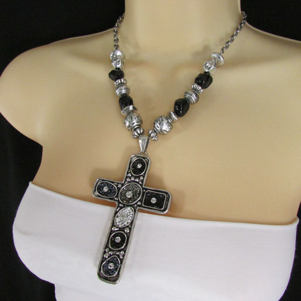 Silver Metal Chain Big Large Black Or Red Cross Necklace Earrings Set New Women Fashion Accessories