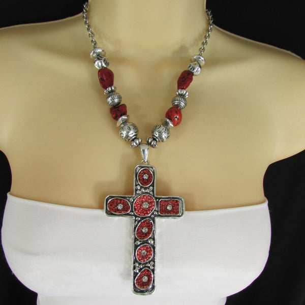 Big Large Black / Red Cross Necklace + Earrings Set New Women Fashion Frida Style - alwaystyle4you - 24