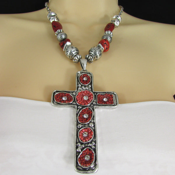 Big Large Black / Red Cross Necklace + Earrings Set New Women Fashion Frida Style - alwaystyle4you - 26