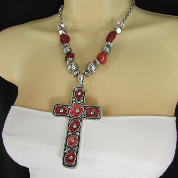 Big Large Black / Red Cross Necklace + Earrings Set New Women Fashion Frida Style - alwaystyle4you - 27