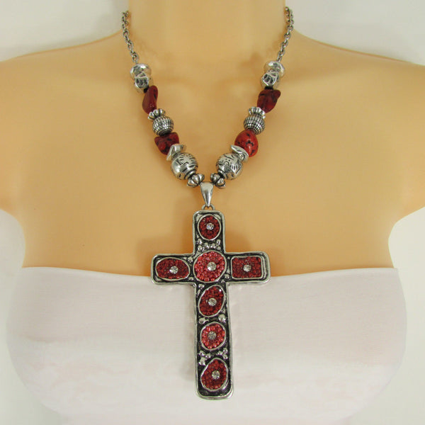 Big Large Black / Red Cross Necklace + Earrings Set New Women Fashion Frida Style - alwaystyle4you - 28