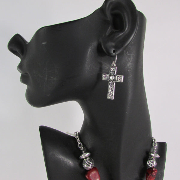 Big Large Black / Red Cross Necklace + Earrings Set New Women Fashion Frida Style - alwaystyle4you - 30