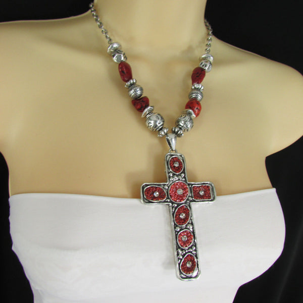 Big Large Black / Red Cross Necklace + Earrings Set New Women Fashion Frida Style - alwaystyle4you - 31