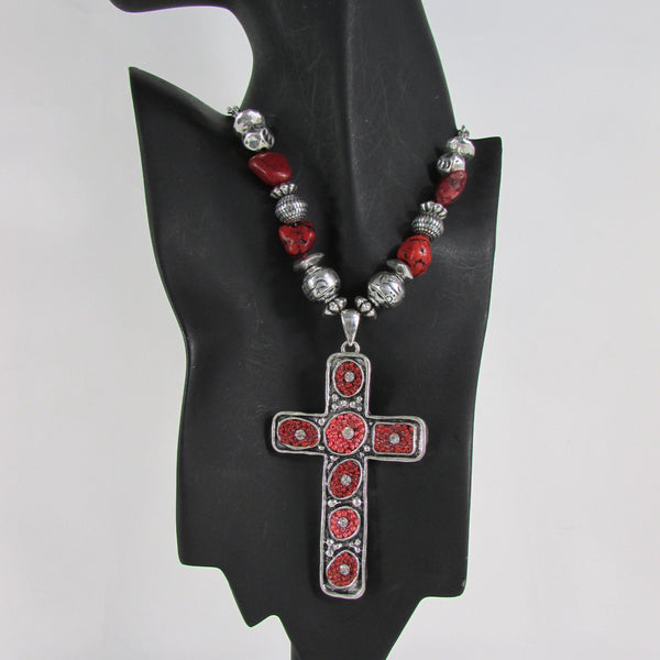 Big Large Black / Red Cross Necklace + Earrings Set New Women Fashion Frida Style - alwaystyle4you - 32