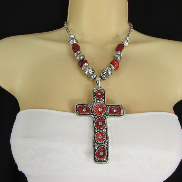Big Large Black / Red Cross Necklace + Earrings Set New Women Fashion Frida Style - alwaystyle4you - 33