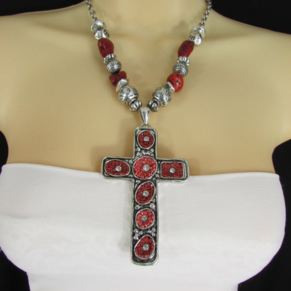 Big Large Black / Red Cross Necklace + Earrings Set New Women Fashion Frida Style - alwaystyle4you - 35