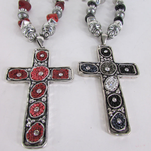 Big Large Black / Red Cross Necklace + Earrings Set New Women Fashion Frida Style - alwaystyle4you - 4
