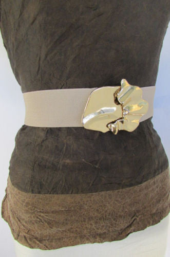 Black Beige Brown Waist Hip Elastic Belt Gold Metal Buckle New Women Fashion Accessories S M - alwaystyle4you - 3