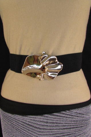 Black Beige Brown Waist Hip Elastic Belt Gold Metal Buckle New Women Fashion Accessories S M - alwaystyle4you - 1