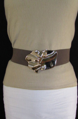 Black Beige Brown Waist Hip Elastic Belt Gold Metal Buckle New Women Fashion Accessories S M - alwaystyle4you - 4