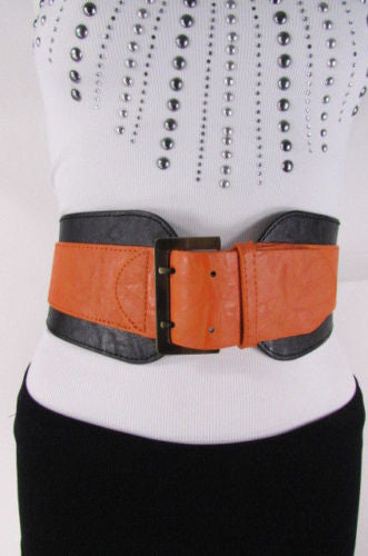 Beige Orange Black Orange White Yellow Blue Pink Faux Leather Elastic Wide 2 Colors Belt Big Buckle Western Style New Women Fashion Accessories S M - alwaystyle4you - 39