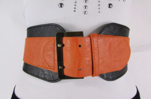 Beige Orange Black Orange White Yellow Blue Pink Faux Leather Elastic Wide 2 Colors Belt Big Buckle Western Style New Women Fashion Accessories S M - alwaystyle4you - 40