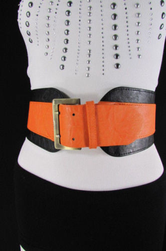 Beige Orange Black Orange White Yellow Blue Pink Faux Leather Elastic Wide 2 Colors Belt Big Buckle Western Style New Women Fashion Accessories S M - alwaystyle4you - 41