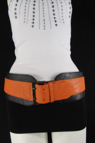 Beige Orange Black Orange White Yellow Blue Pink Faux Leather Elastic Wide 2 Colors Belt Big Buckle Western Style New Women Fashion Accessories S M - alwaystyle4you - 42