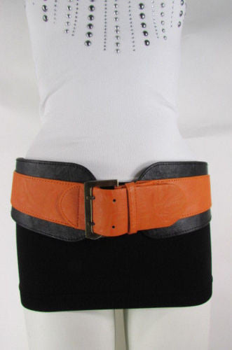 Beige Orange Black Orange White Yellow Blue Pink Faux Leather Elastic Wide 2 Colors Belt Big Buckle Western Style New Women Fashion Accessories S M - alwaystyle4you - 43