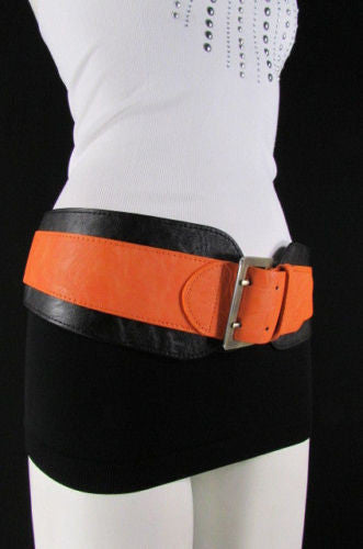 Beige Orange Black Orange White Yellow Blue Pink Faux Leather Elastic Wide 2 Colors Belt Big Buckle Western Style New Women Fashion Accessories S M - alwaystyle4you - 44