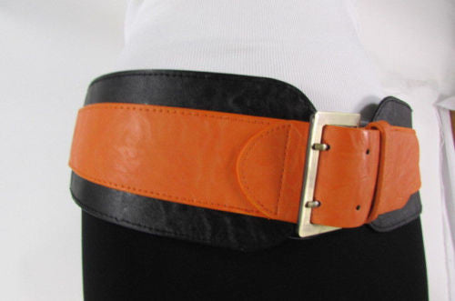 Beige Orange Black Orange White Yellow Blue Pink Faux Leather Elastic Wide 2 Colors Belt Big Buckle Western Style New Women Fashion Accessories S M - alwaystyle4you - 45